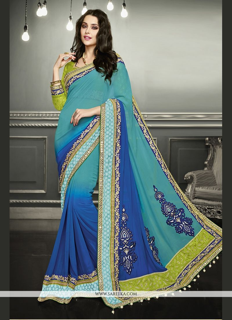 Blue Patch Border Work Classic Designer Saree
