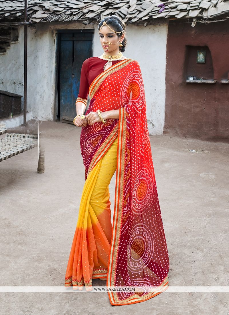 Print Work Multi Colour Shimmer Georgette Designer Saree