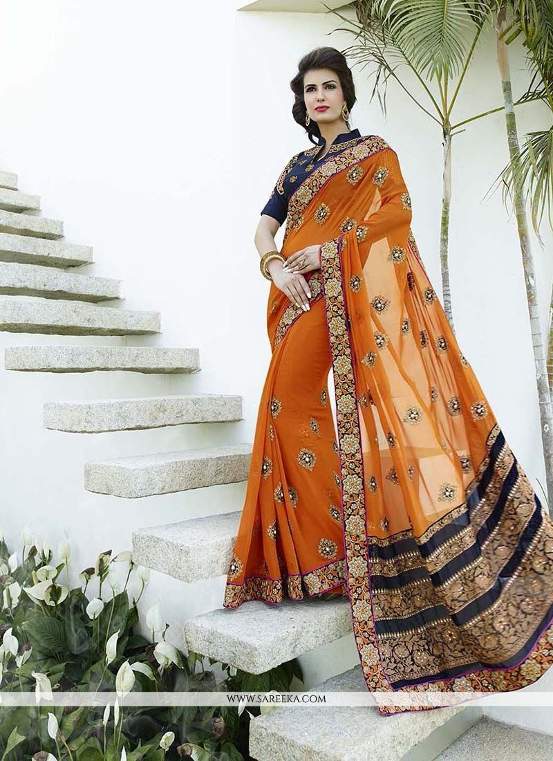Bamber Georgette  Patch Border Work Classic Designer Saree