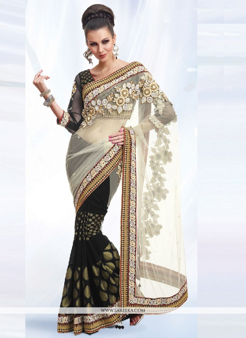 Black Patch Border Work Net Designer Saree