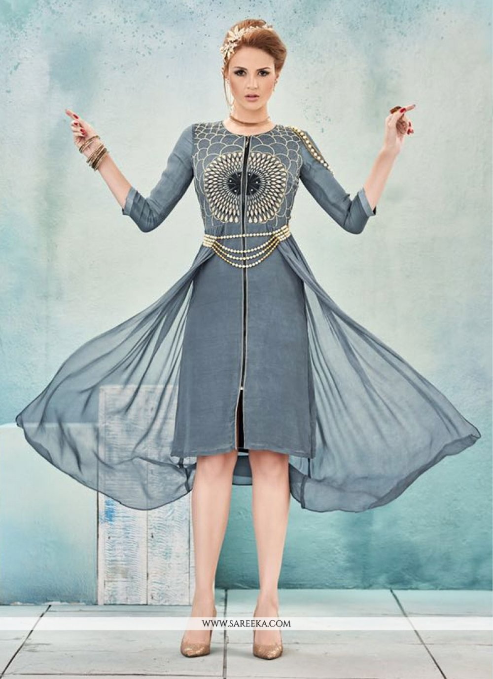 Georgette Grey Embroidered Work Party Wear Kurti
