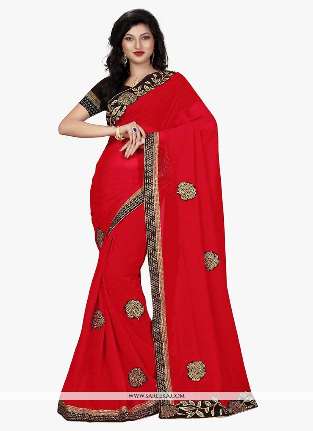 Georgette Red Patch Border Work Traditional Designer Sarees