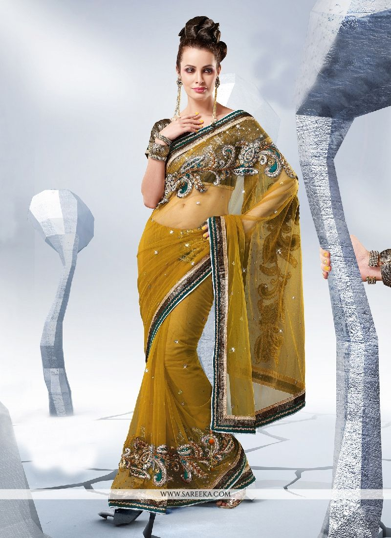 Green Embroidered Work Art Silk Designer Saree