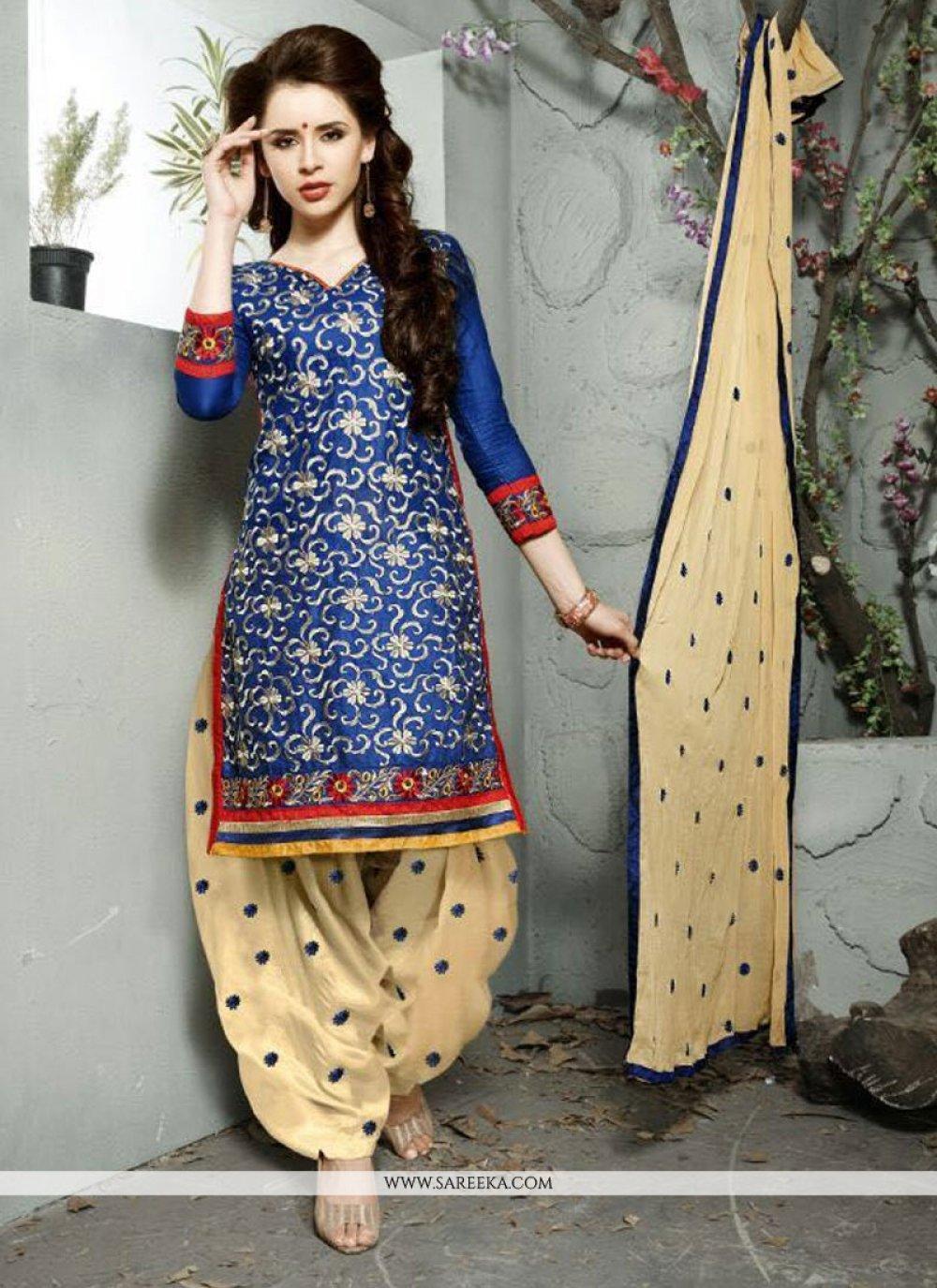 Navy Blue Cotton   Trendy Punjabi Churidar Suit