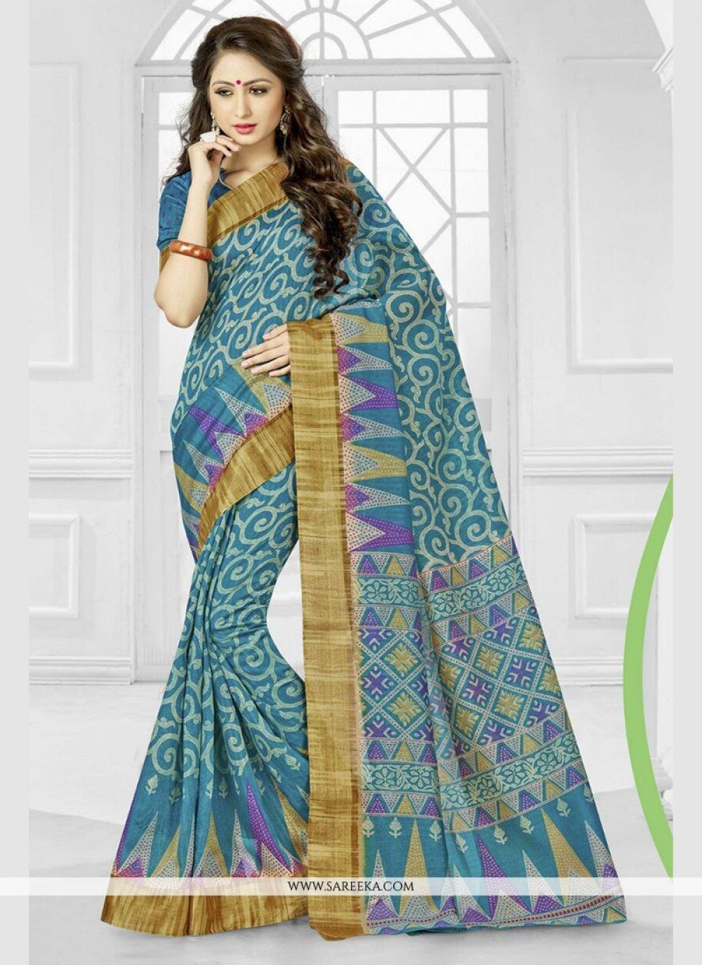 Blue Silk Printed Saree