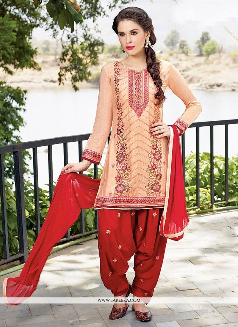 Buy Embroidered Work Designer Patiala Salwar Kameez Online India