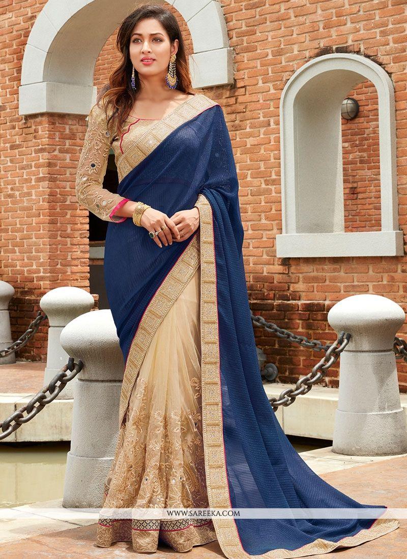 ad830af437 Navy Blue Saree With Designer Blouse