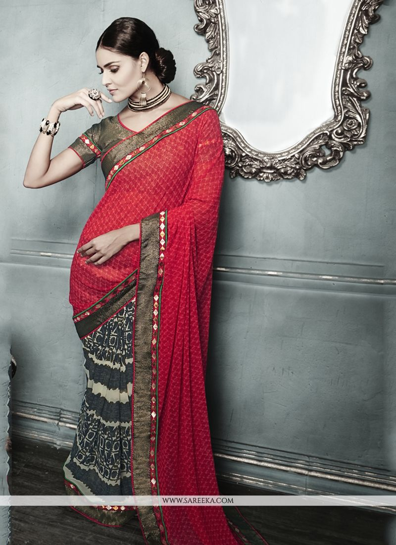 Multi Colour Print Work Designer Saree