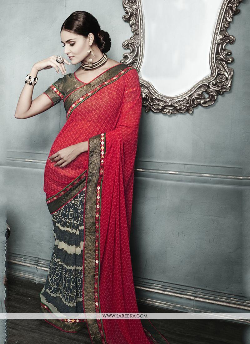 Multi Colour Print Work Designer Saree
