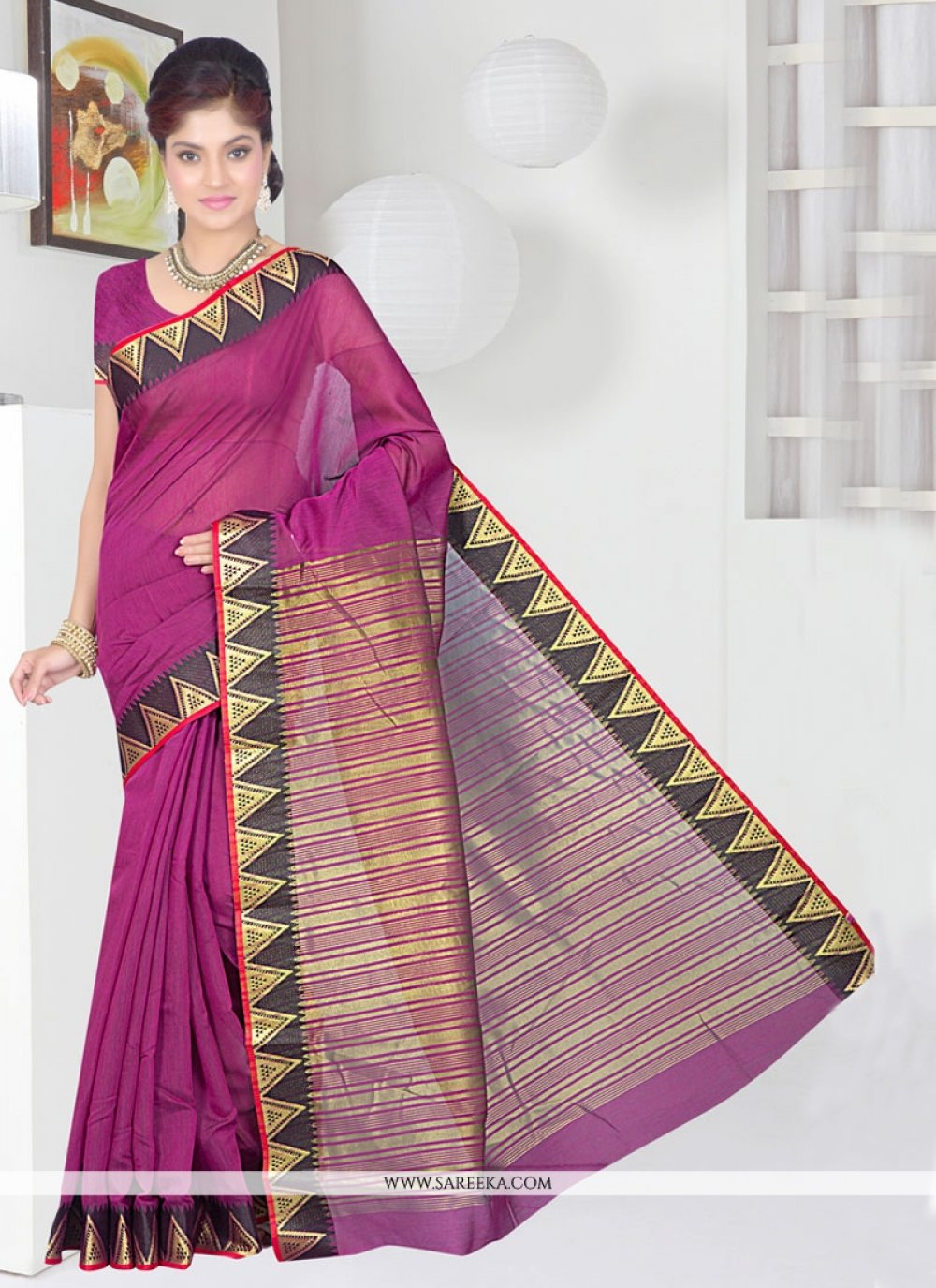 Patch Border Work Cotton Silk Casual Saree