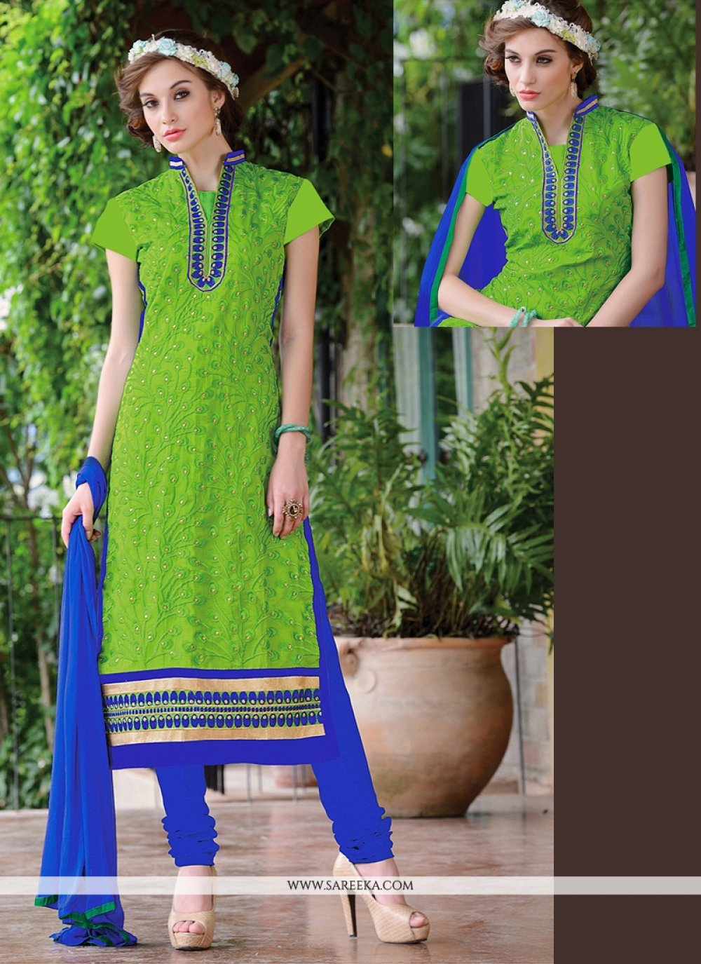 Lace Work Chanderi Green Churidar Suit