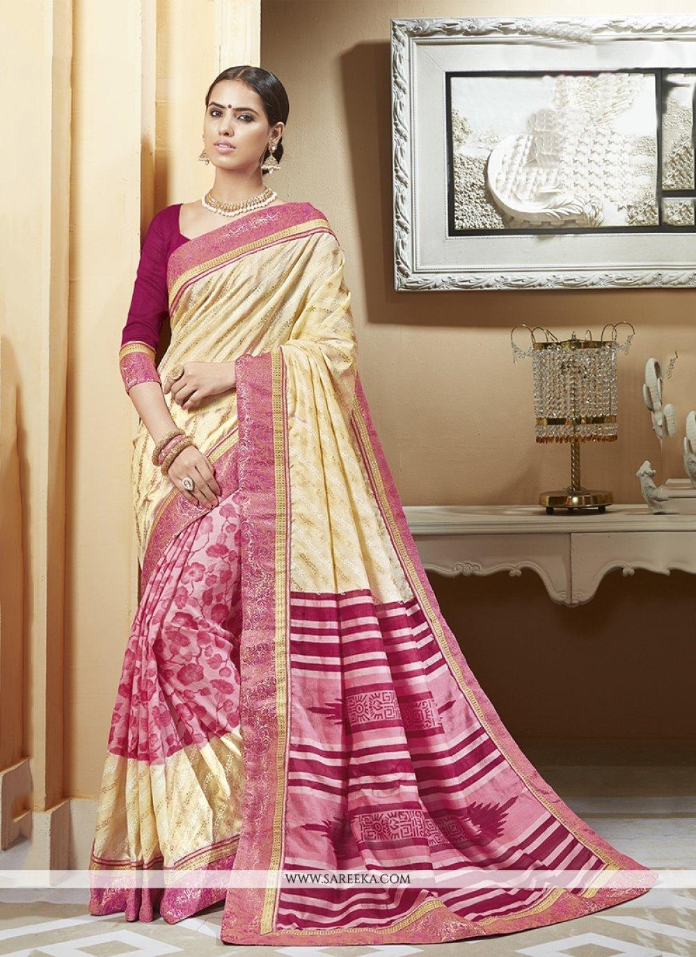 Multi Colour Print Work Silk Printed Saree