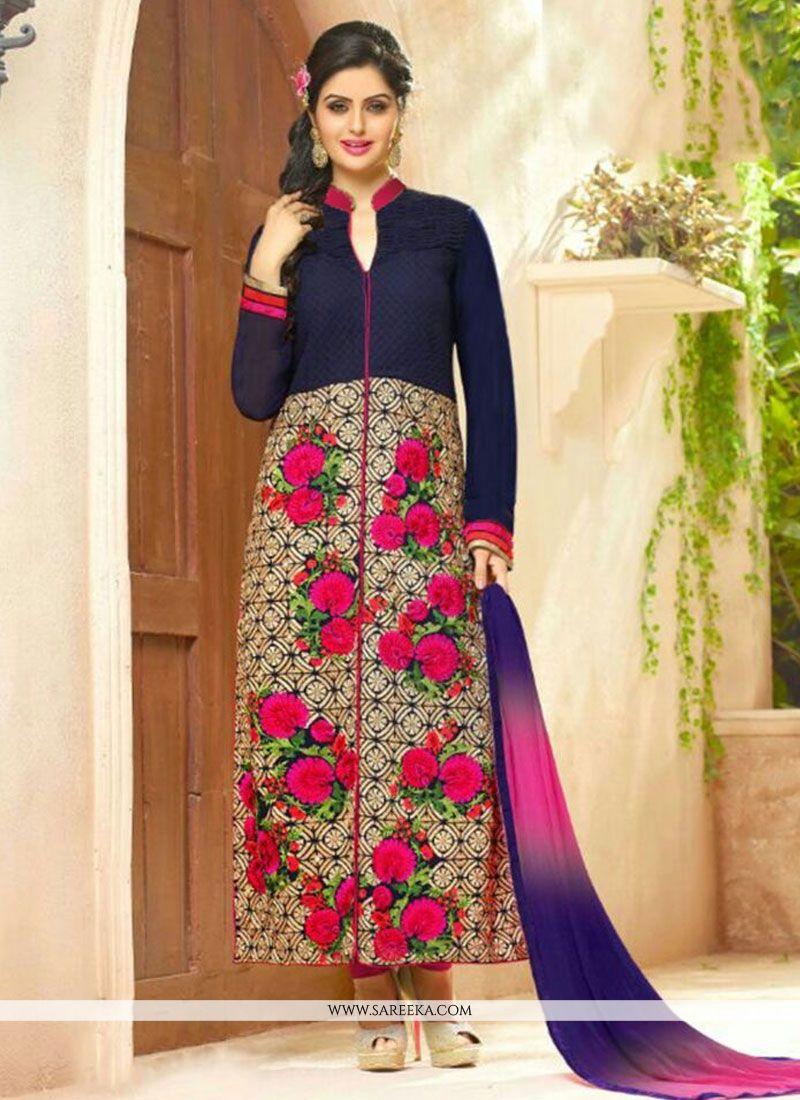 22d3316eb8 Buy Navy Blue Embroidered Work Cotton Designer Straight Salwar Suit Online  : Fiji -