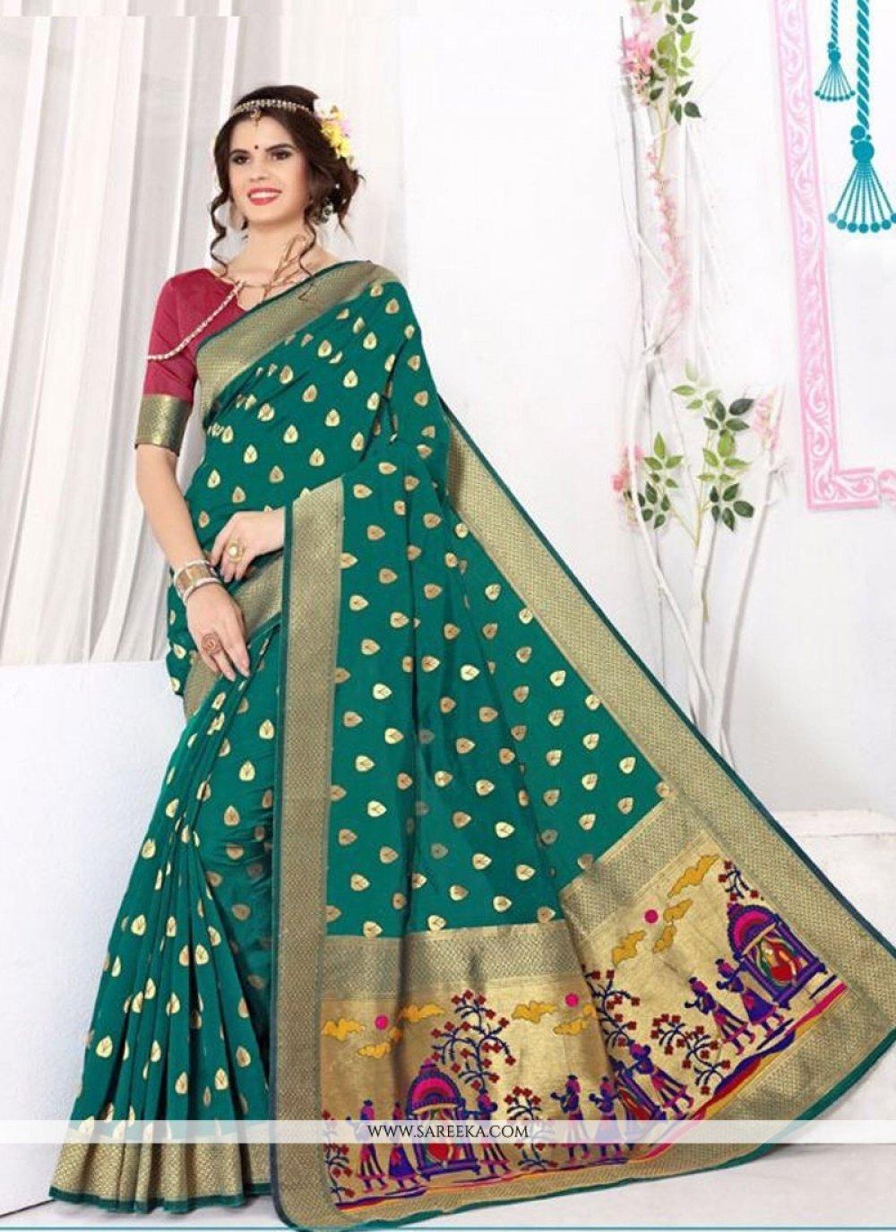 Patch Border Work Banarasi Silk Classic Saree