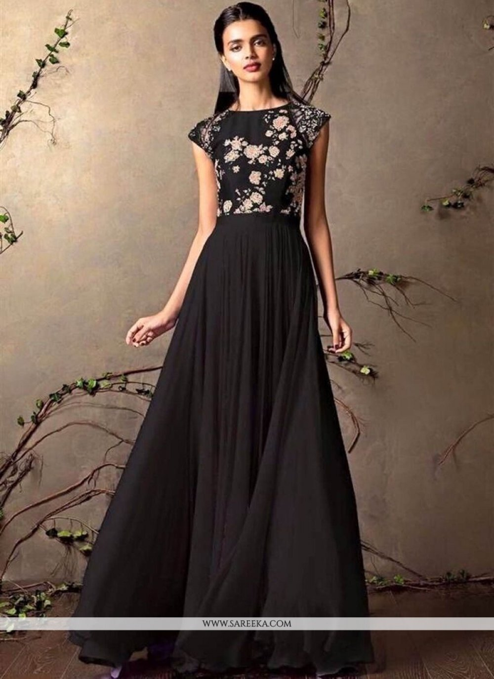 Black Resham Work Designer Gown