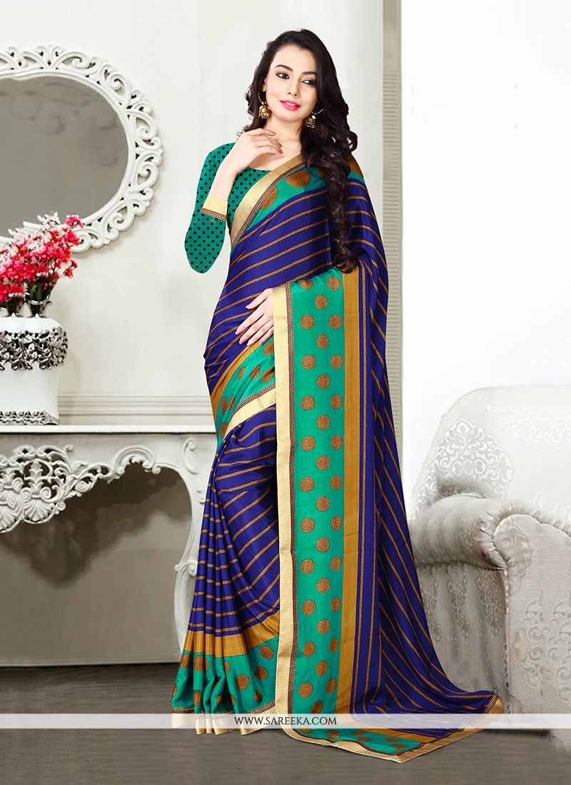 Blue Patch Border Work Designer Saree