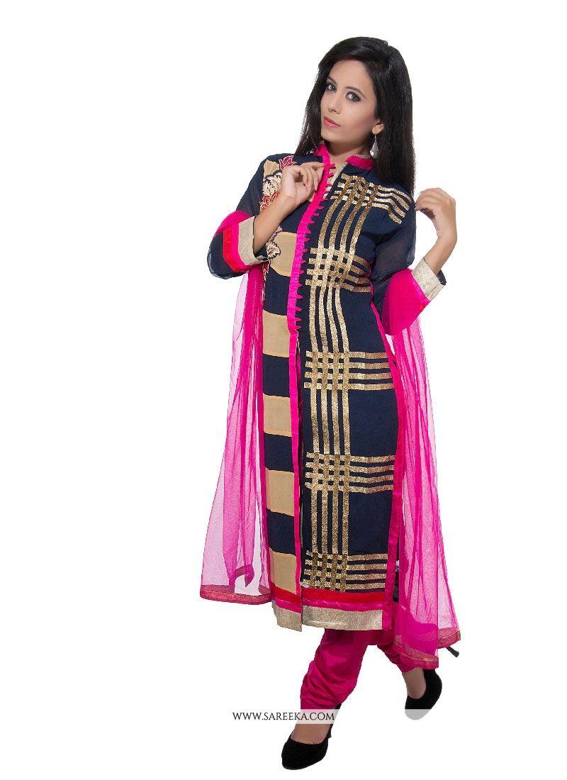 Hot Pink Patch Border Work Georgette Churidar Designer Suit