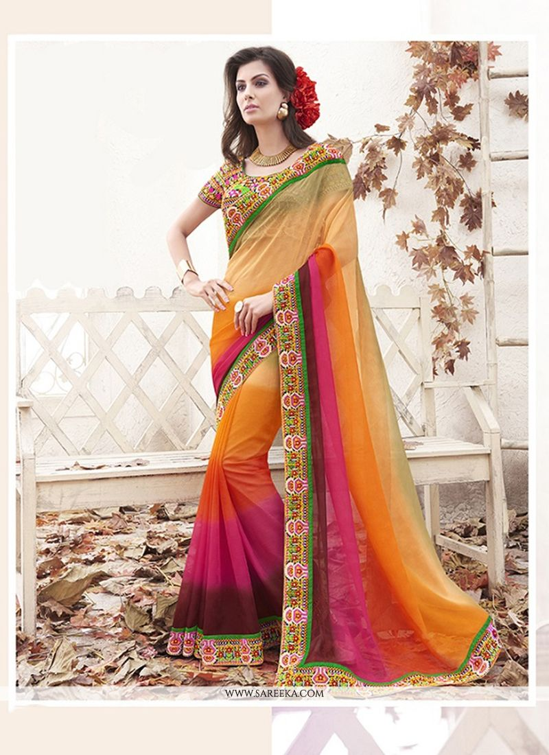 Multi Colour Patch Border Work Designer Saree