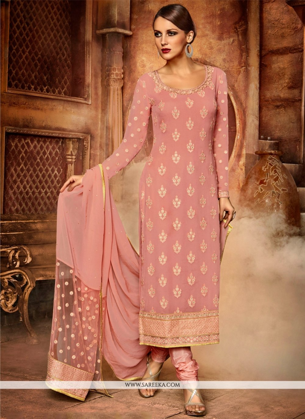 Georgette Embroidered Work Churidar Designer Suit