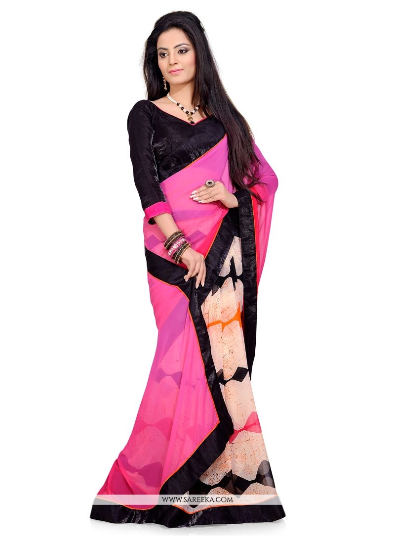 Multi Colour Georgette Casual Saree