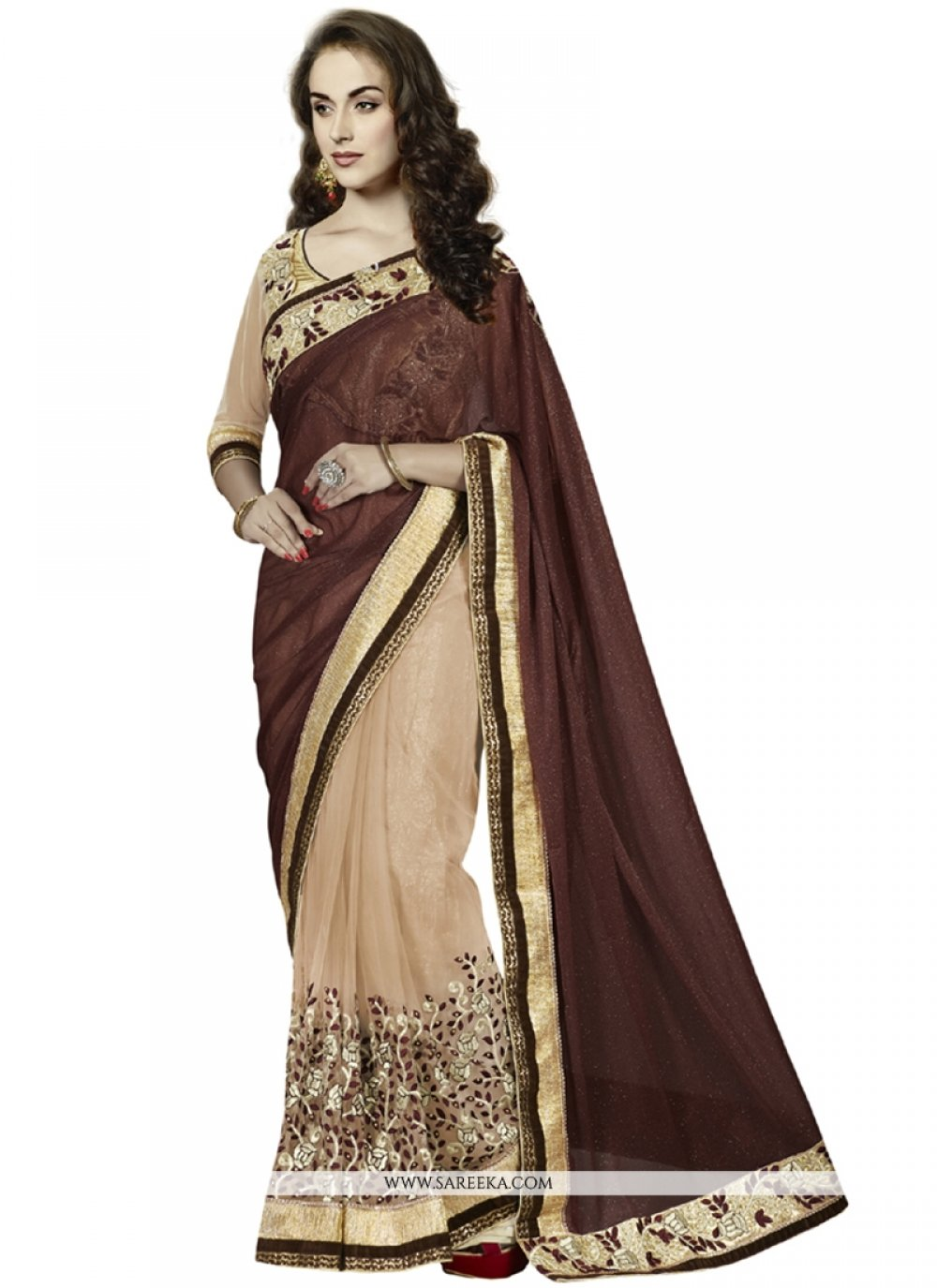 Brown Patch Border Work Georgette Designer Saree