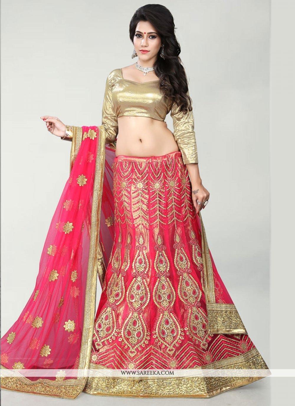 Net Hot Pink A Line Lehenga Choli