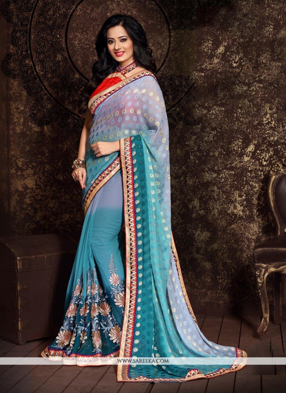 Blue Patch Border Work Jacquard Designer Half N Half saree