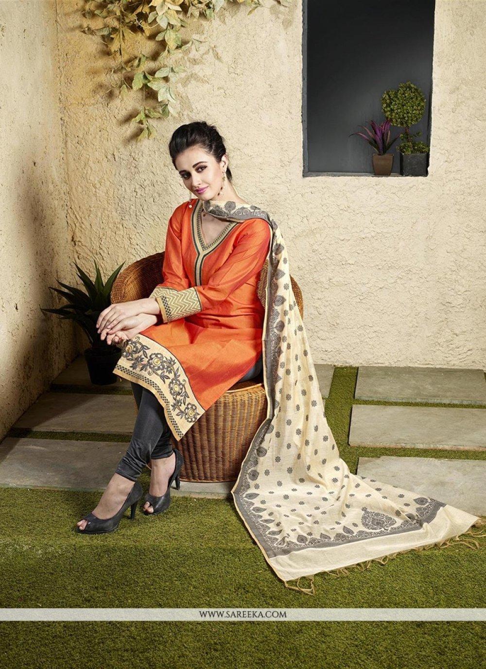 Chanderi Cotton Orange Lace Work Readymade Suit