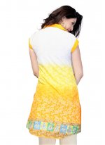 Cotton   Yellow Print Work Casual Kurti