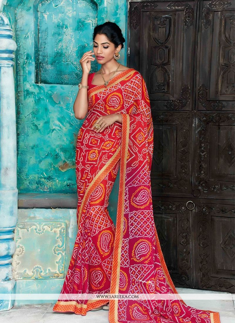 Faux Chiffon Hot Pink and Red Patch Border Work Designer Saree
