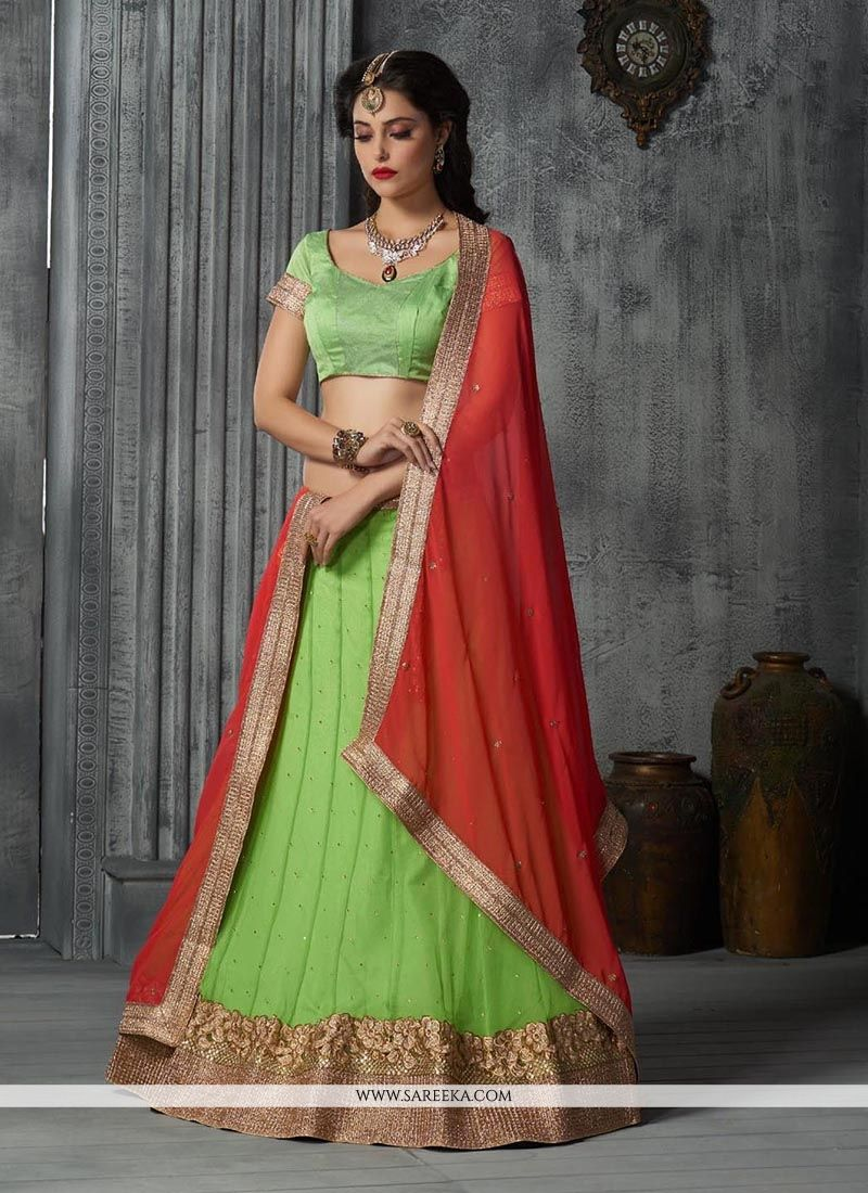 Green Embroidered Work A Line Lehenga Choli