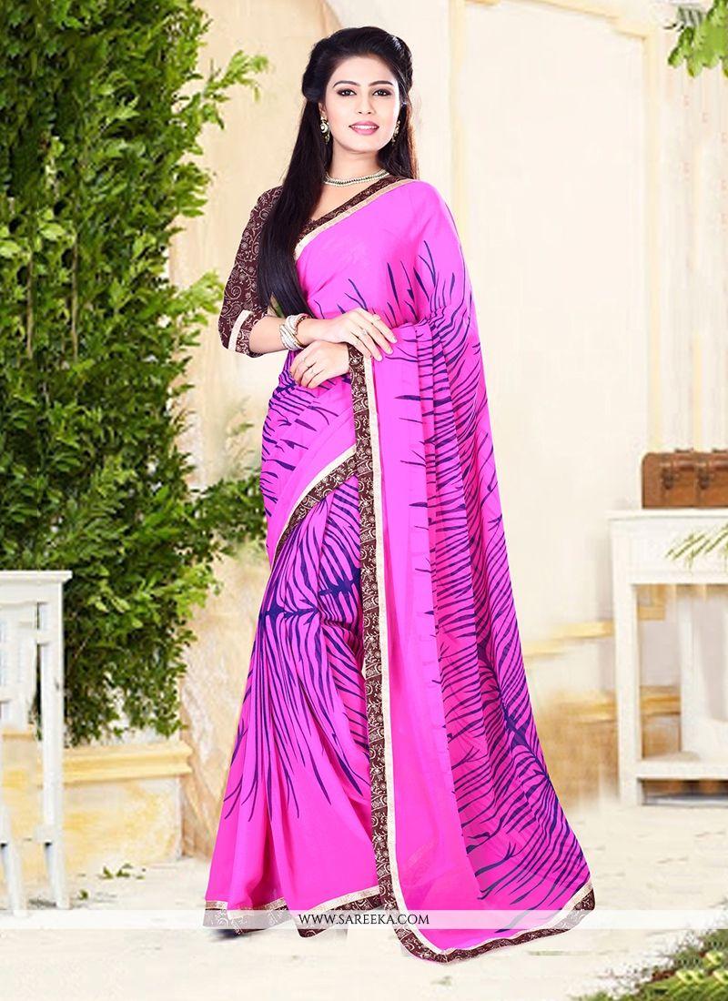 Hot Pink Patch Border Work Designer Saree