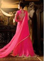 Hot Pink Resham Work Silk Anarkali Salwar Kameez