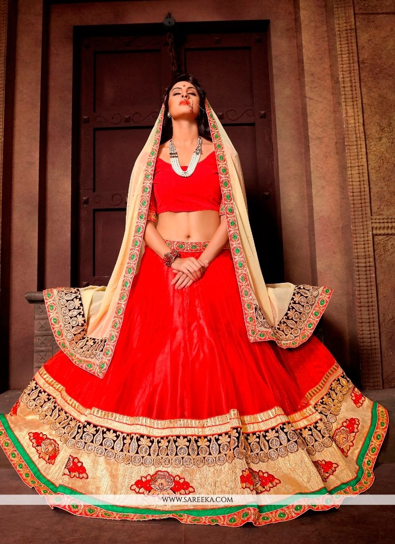 Red Embroidered Work A Line Lehenga Choli