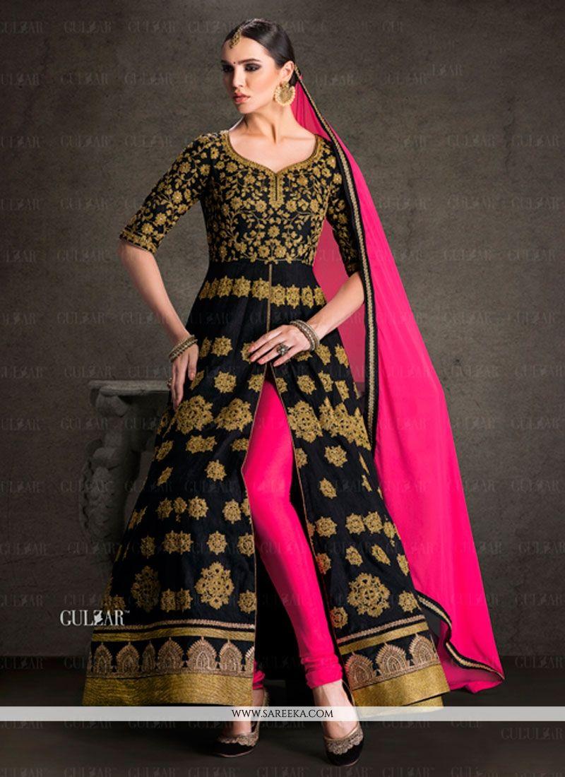 Buy Exquisite Banglori Silk Black Designer Salwar Suit Online at ...