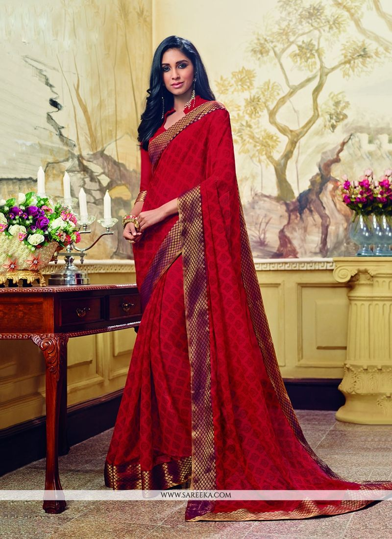 Georgette Red Patch Border Work Printed Saree
