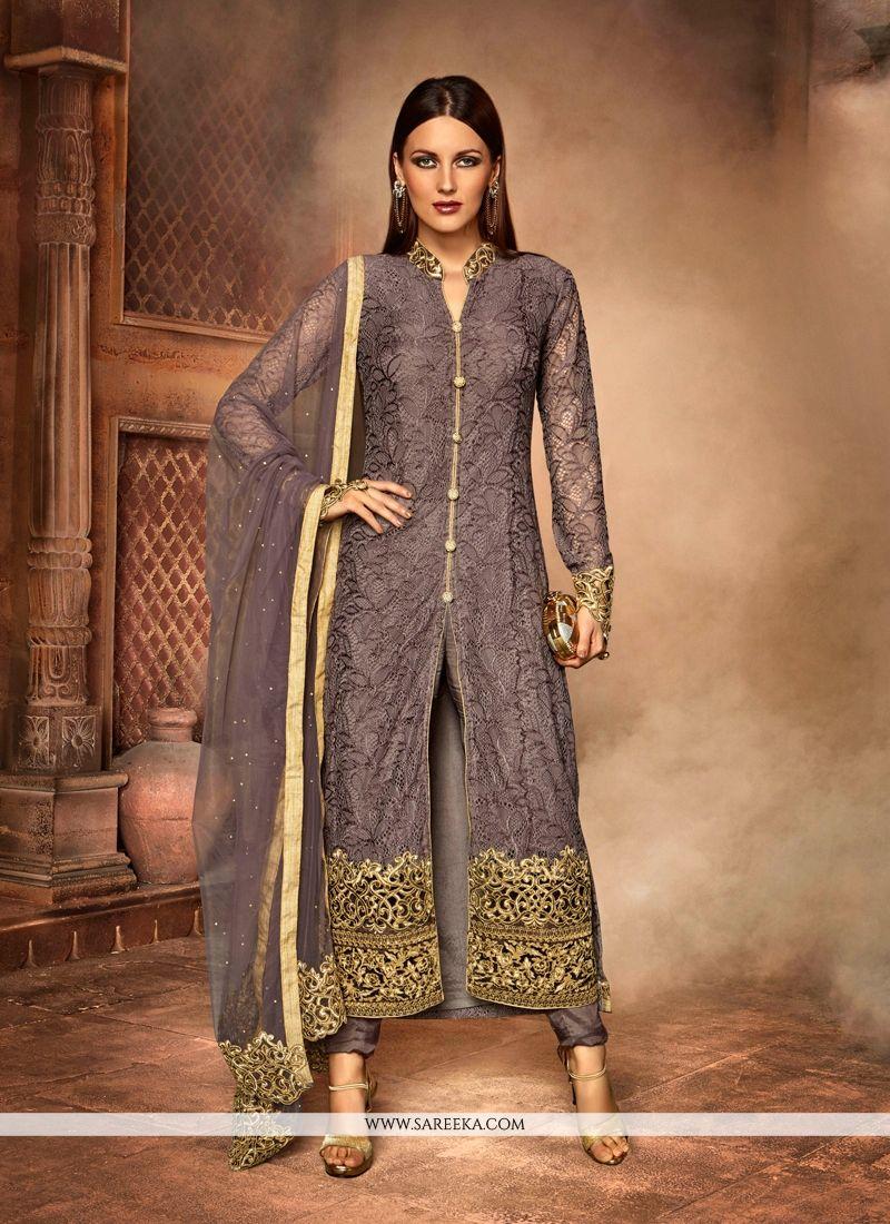 Grey Embroidered Work Net Churidar Designer Suit