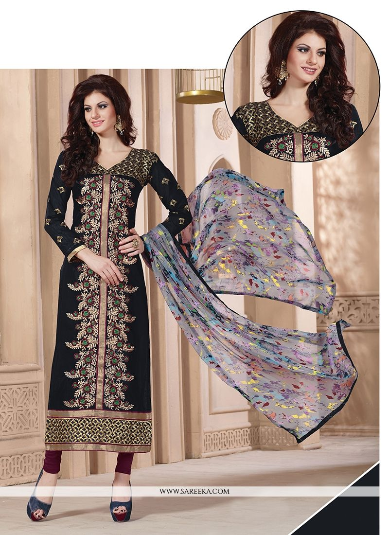 Navy Blue Churidar Designer Suit