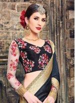 Patch Border Work Raw Silk Classic Designer Saree