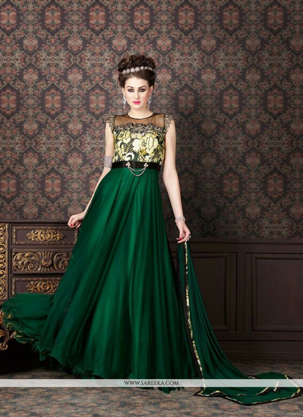 Zari Work Green Anarkali Salwar Kameez