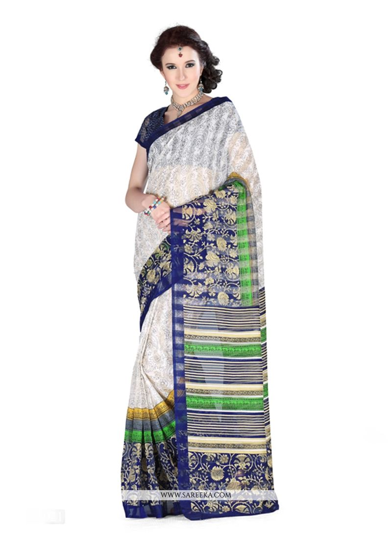 Art Silk Off White Print Work Casual Saree