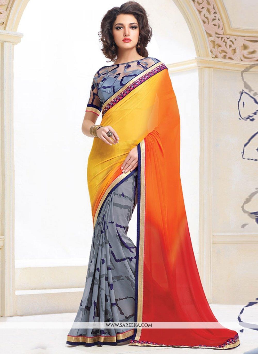 Blue, Orange and Yellow Designer Saree