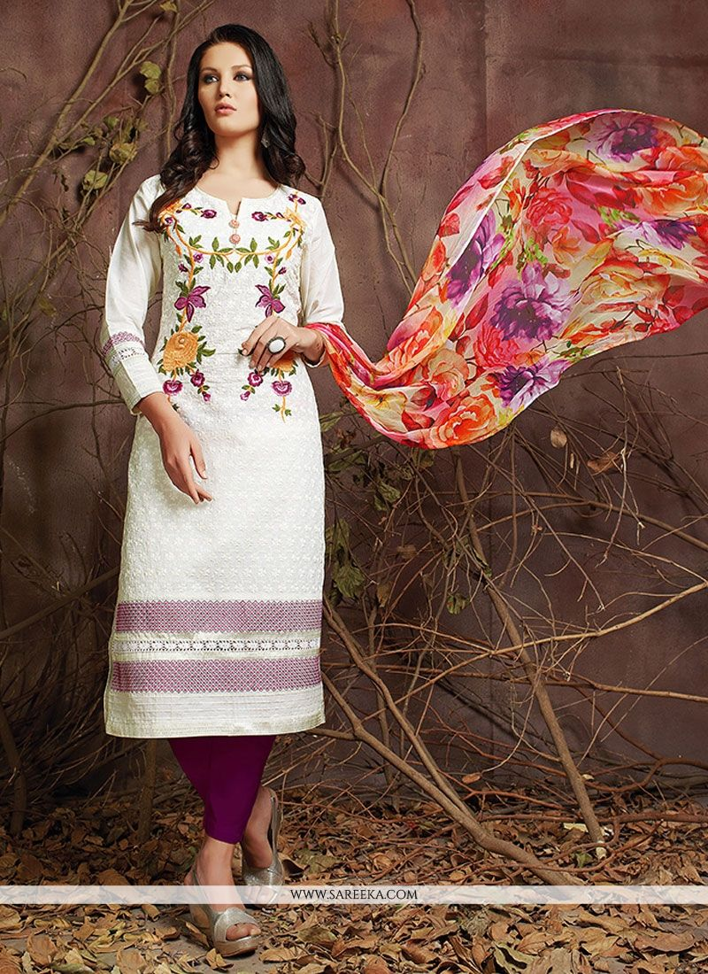 Embroidered Work Off White Designer Suit