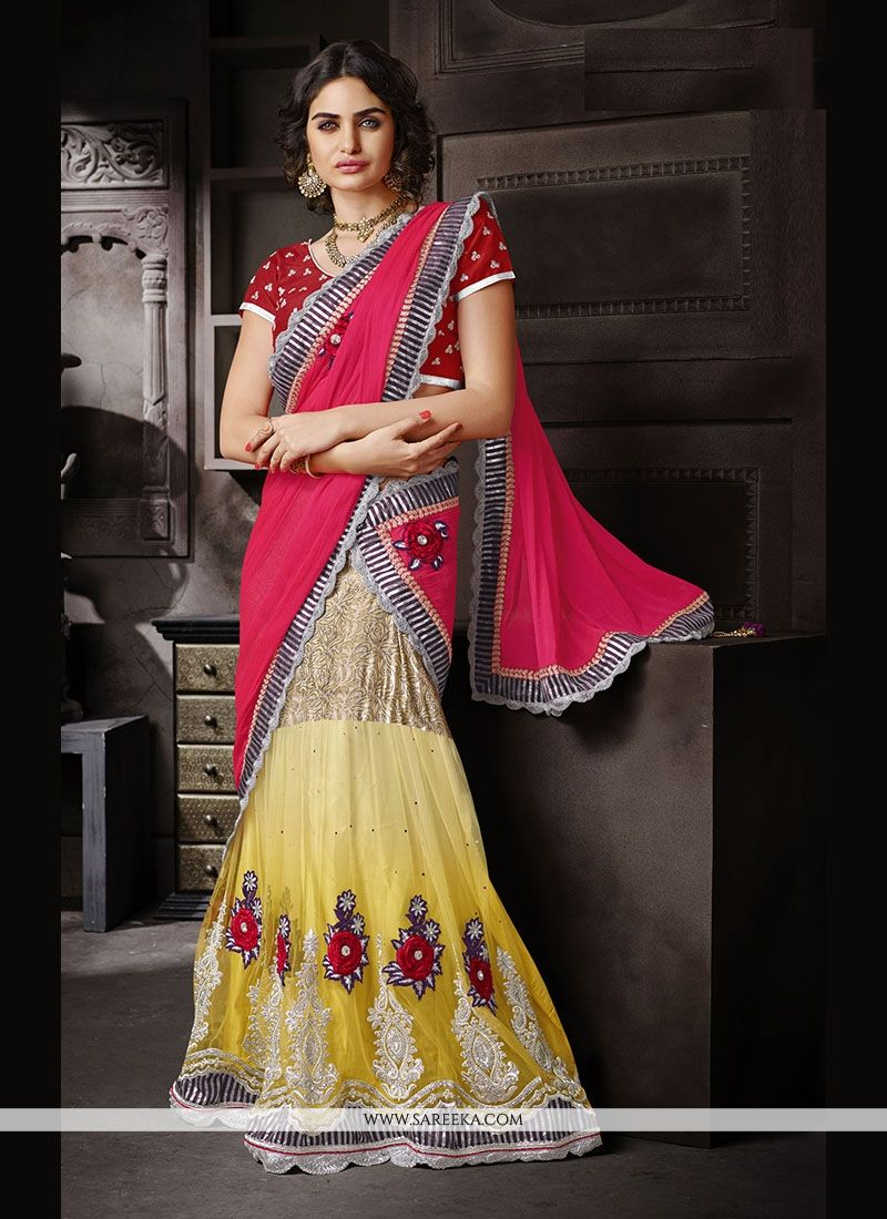 Faux Chiffon Embroidered Work Lehenga Saree