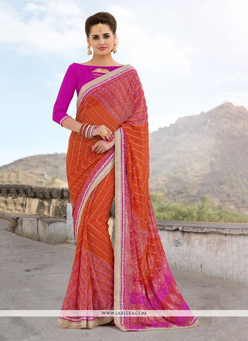 Georgette Hot Pink and Orange Designer Saree