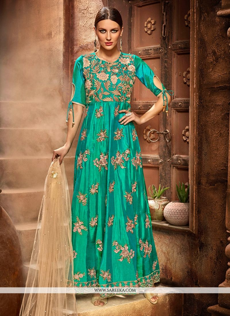 Buy Net Sea Green Anarkali Salwar Kameez Online : Indian Ethnic Wear -