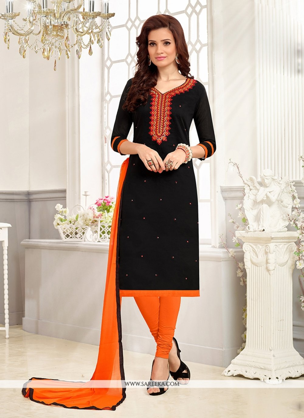 Embroidered Work Chanderi Churidar Suit