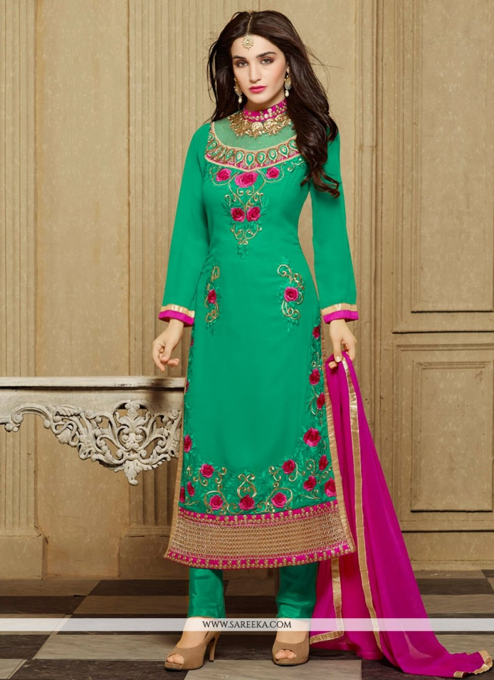 Green Embroidered Work Designer Straight Salwar Kameez
