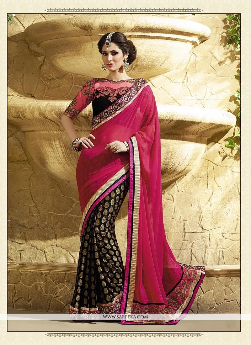 Patch Border Work Magenta Classic Designer Saree