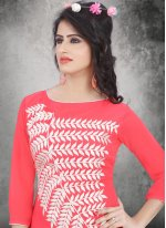 Weight Less Rose Pink Party Wear Kurti